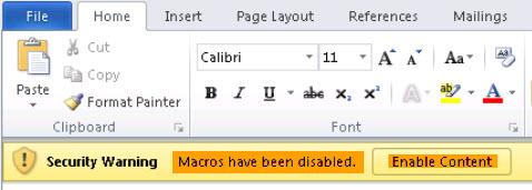 Mặc định Macros bị vô hiệu hóa trong các file tải về của Microsoft Office